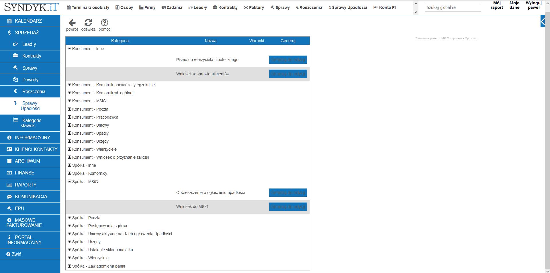 Syndyk.iT - widok generatora dokumentów