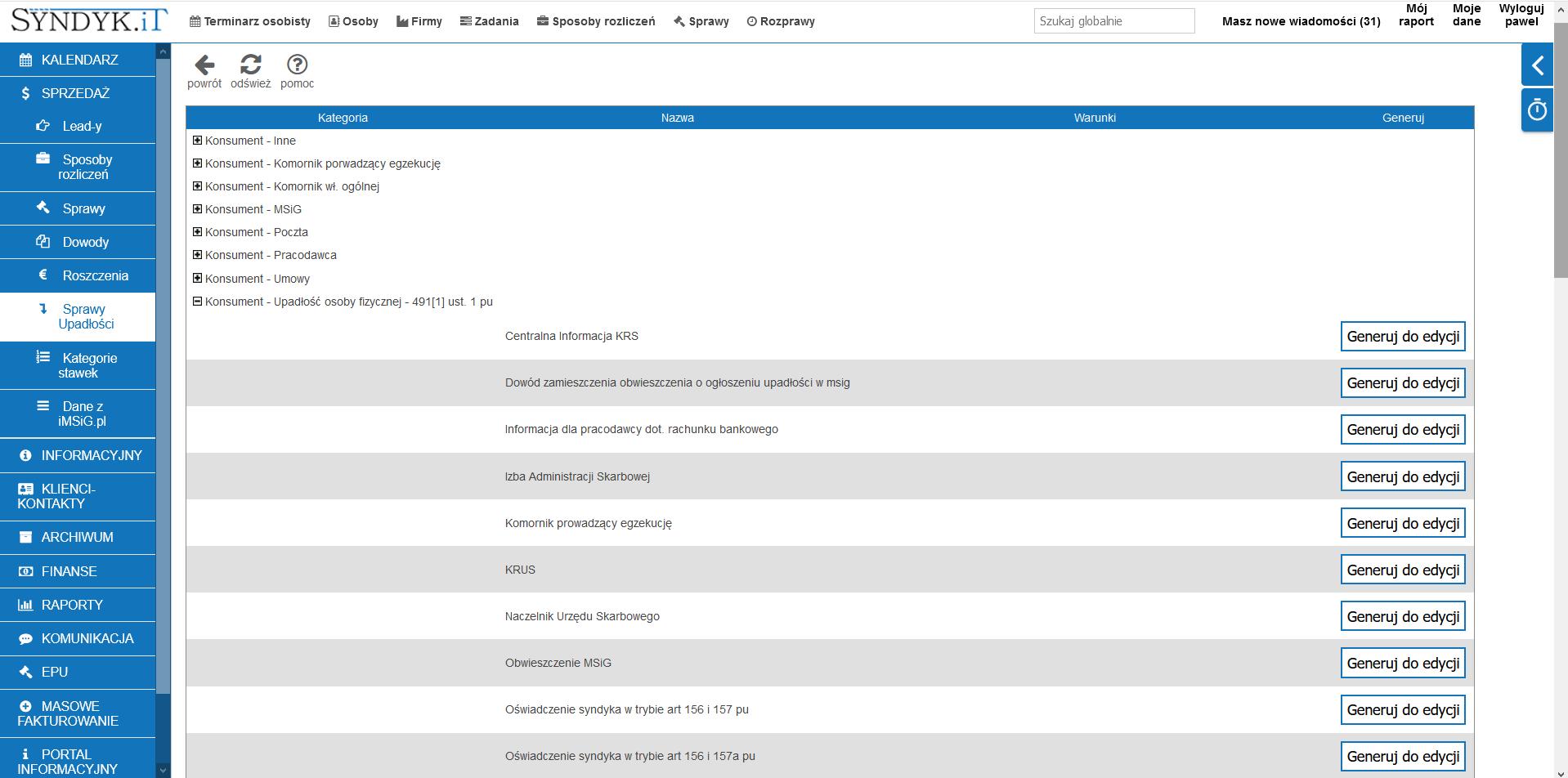 Generator dokumentów w programie Syndyk.iT